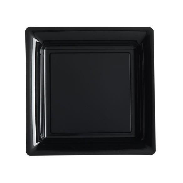 12 Assiettes carrées plastiques noir