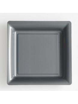12 Assiettes carrées plastiques argent