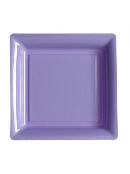12 Assiettes carrées plastiques parme