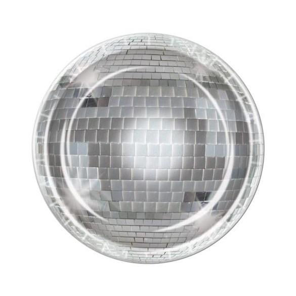 8 Assiettes disco boules à facette