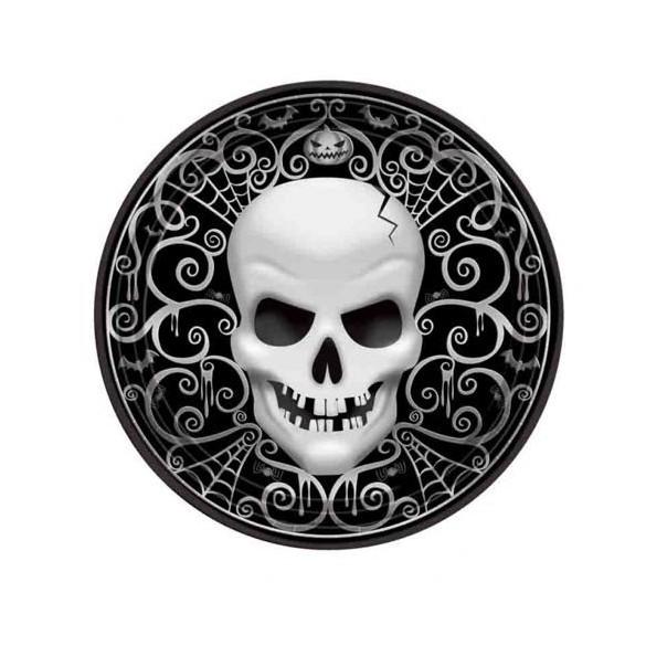 8 Assiettes à dessert Skull