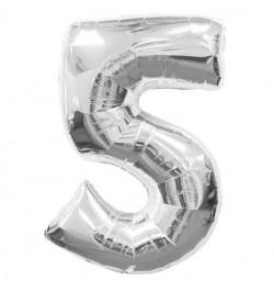 Ballon chiffre 5 argent