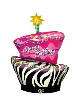Ballon alu gateau anniversaire zébré