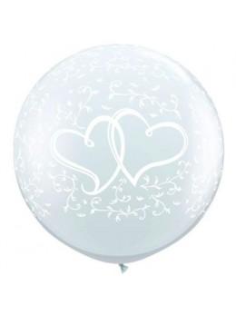 Ballon géant transparent coeurs entrelacés