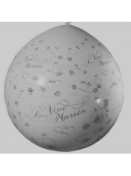 Ballon géant Vive les mariés argent