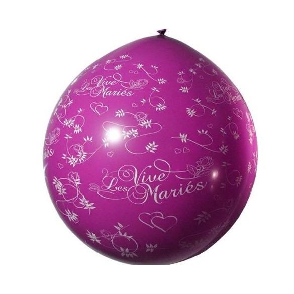 Ballon géant 1m Vive les mariés prune