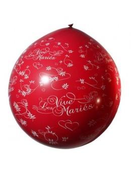 Ballon géant 1m Vive les mariés rouge