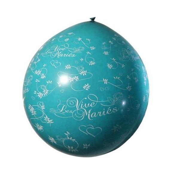 Ballon géant 1m Vive les mariés turquoise