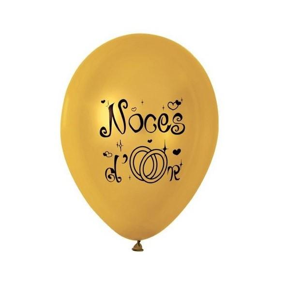 10 Ballons noces d'or 30cm