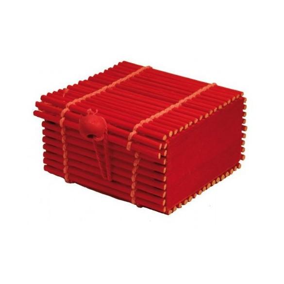 Boite bambou rouge bordeaux