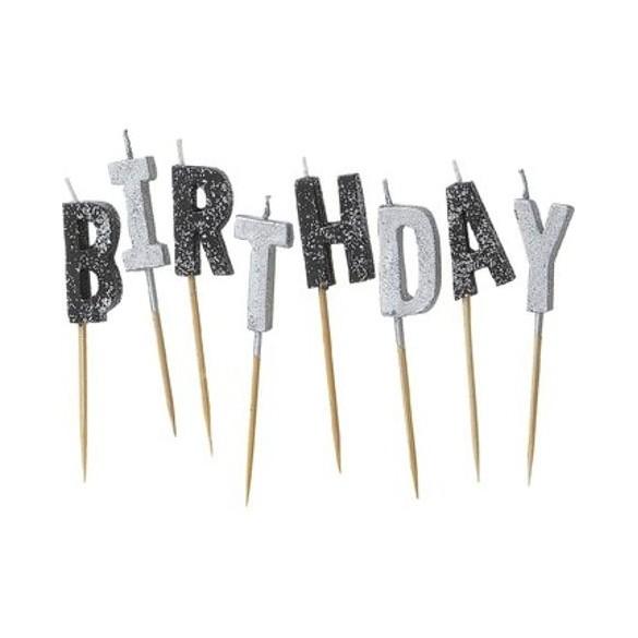 Bougies Happy birthday noire