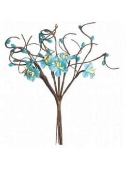 Bouquet fleurs de pommier turquoise