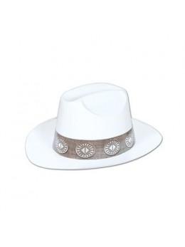 Chapeau cowboy plastique blanc