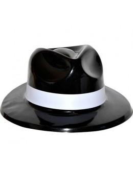 Chapeau gangster PVC noir