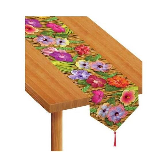 Chemin de table imprimé bambou hibiscus