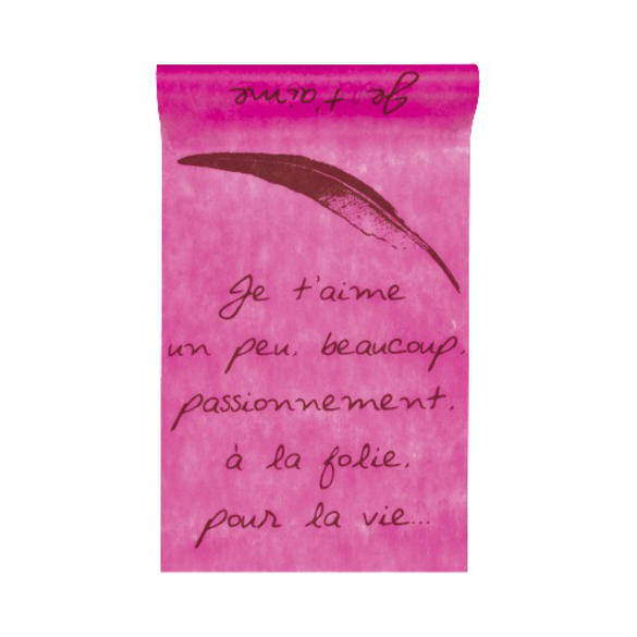 Chemin de table je t'aime fuchsia