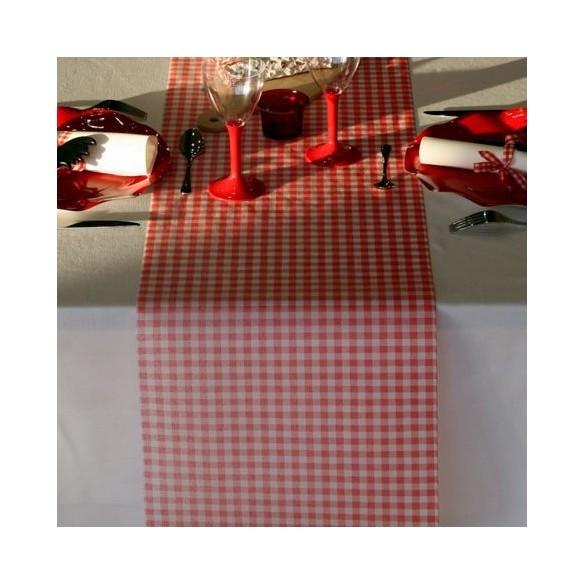chemin de table vichy rouge et blanc f tes en folie. Black Bedroom Furniture Sets. Home Design Ideas