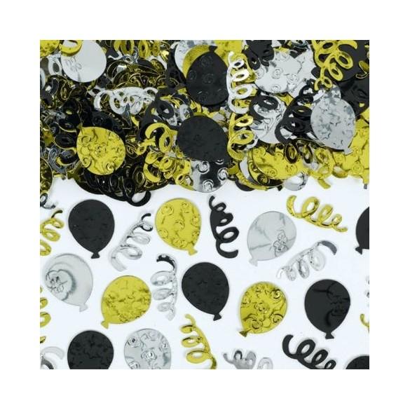 Confetti ballons noir or argent 70g