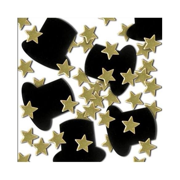 Confetti étoiles or et Gibus noir