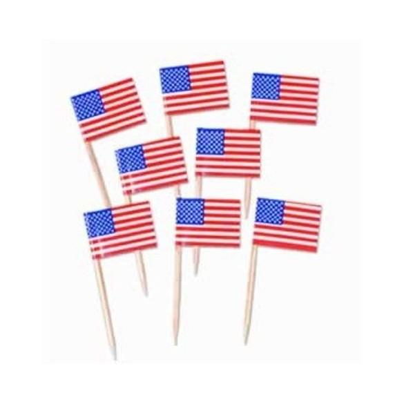50 mini drapeaux USA