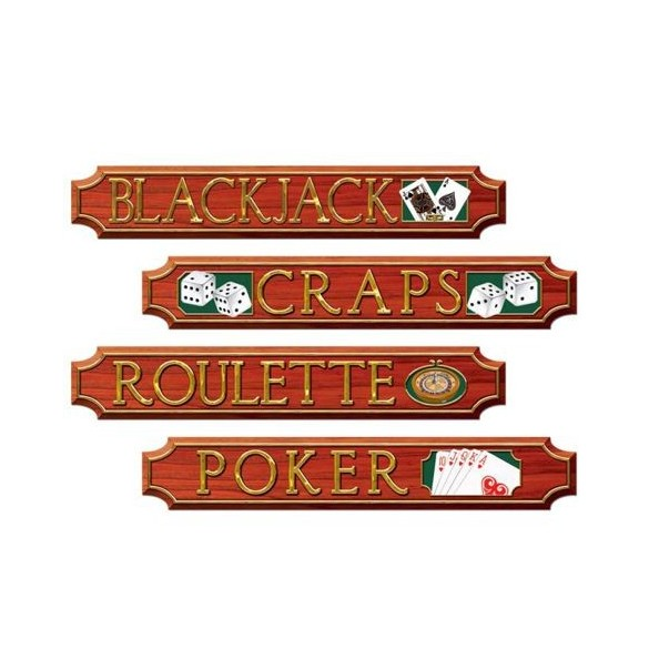 Déco 4 pancartes casino
