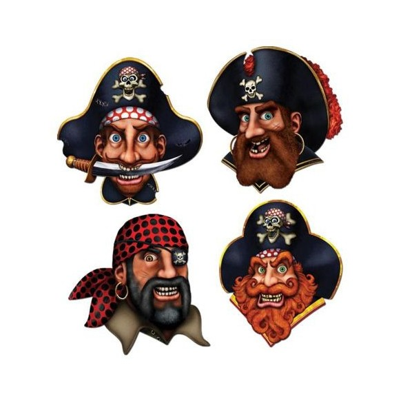 Décor 4 têtes de pirate