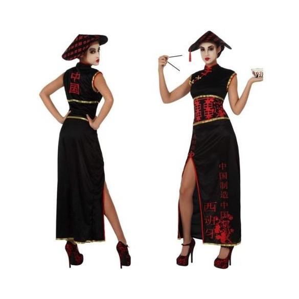 Déguisement chinoise noir et rouge