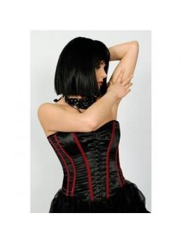 Déguisement corset satin noir et rouge