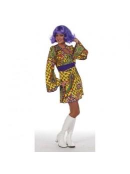 Déguisement robe hippie jaune deluxe