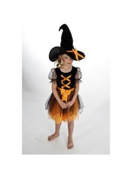 Déguisement sorcière enfant noir orange