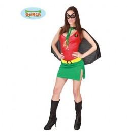 Déguisement superhero fille vert et rouge