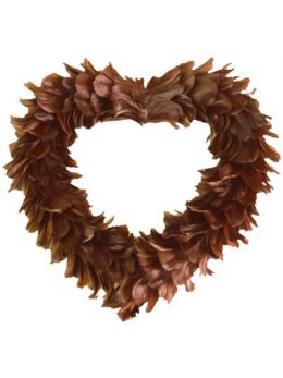 Gros coeur en plumes chocolat XL