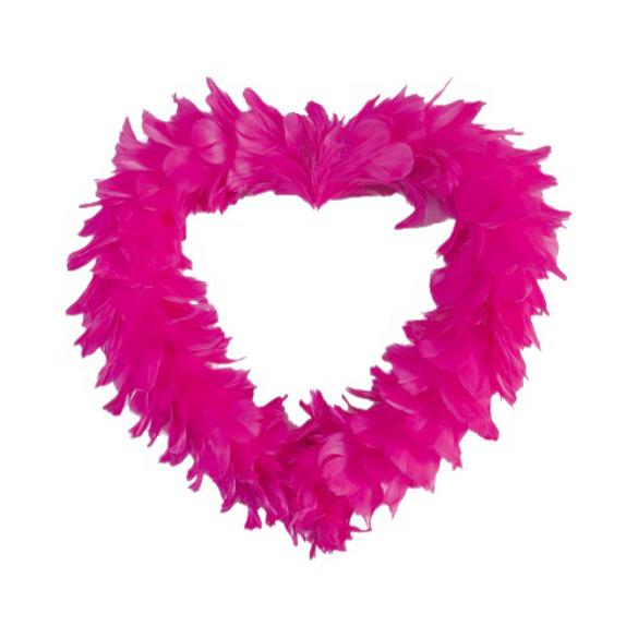 Gros coeur en plumes fuchsia XL