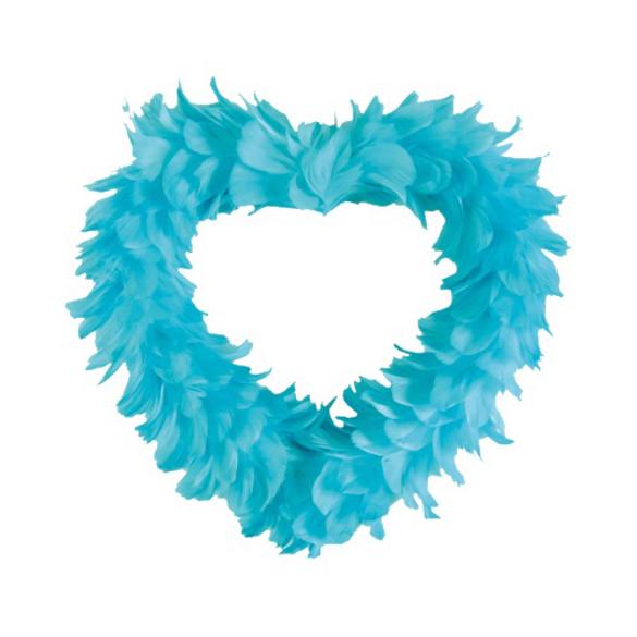Gros coeur en plumes turquoise XL