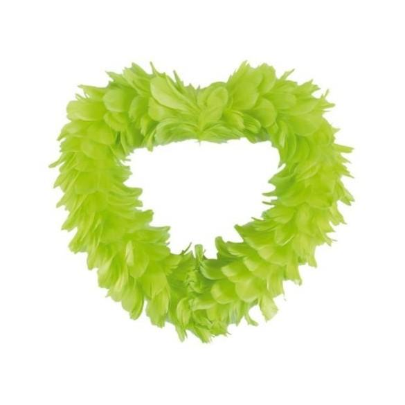 Gros coeur en plumes vert XL