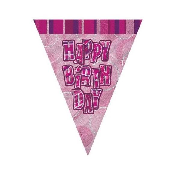Guirlande Happy Birthday rose