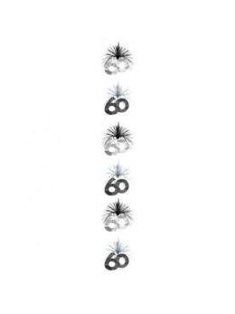 Guirlande verticale 60 ans noir/argent