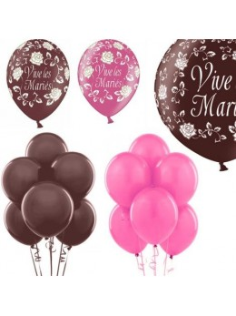 Kit ballons mariage chocolat fuchsia