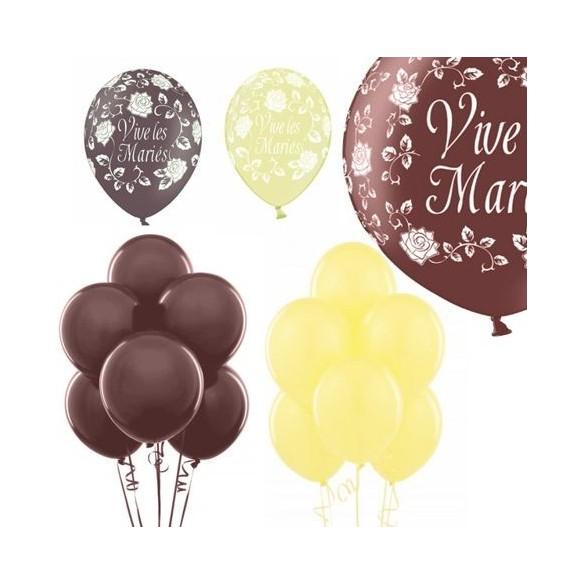 Kit ballons mariage chocolat ivoire