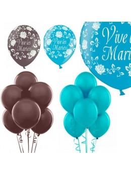 Kit ballons mariage chocolat turquoise