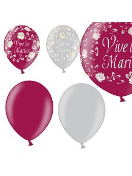 Kit ballons mariage prune argent