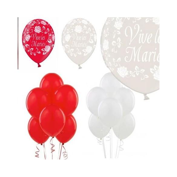 Kit ballons mariage rouge et blanc