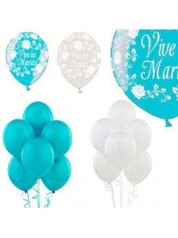 Kit ballons mariage turquoise et blanc