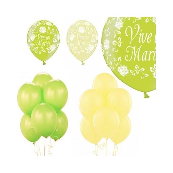 Kit ballons mariage vert anis ivoire