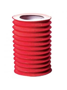 Lampion cylindrique rouge 16cm