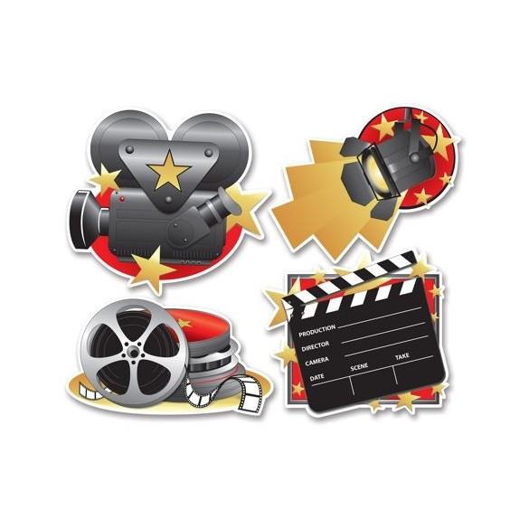 Lot de 4 décorations cinéma
