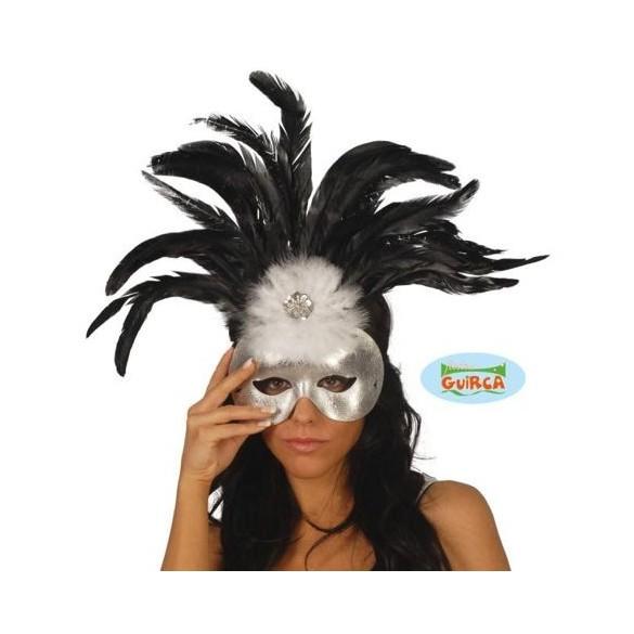 Loup plumes noir et blanc
