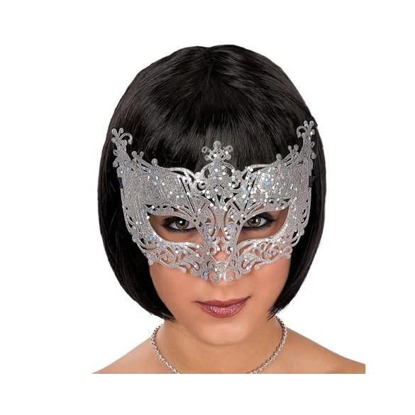 Masque loup vénitien glitter Argent