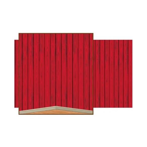 Rouleau déco rouge fond bois