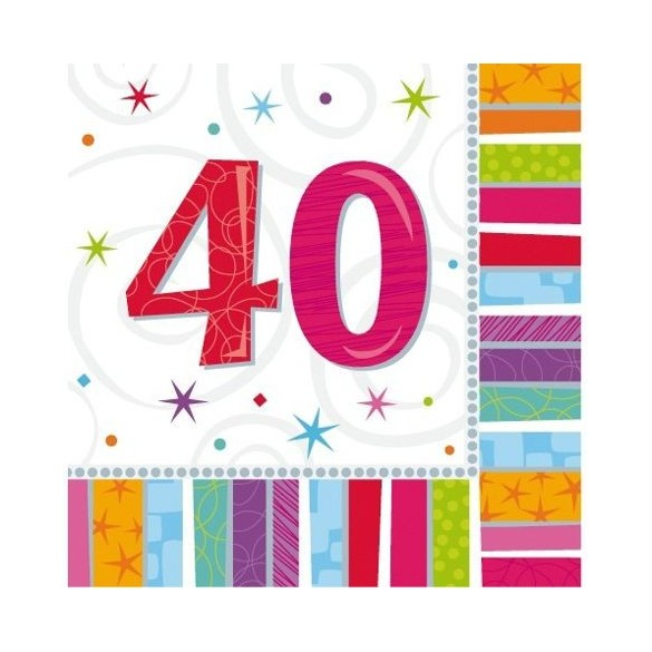 16 Serviettes age 40ans